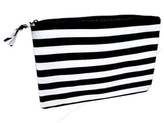 Gifts & Giftwrap: Darice All-Purpose Zippered Fabric Pouch - Black & White Stripes