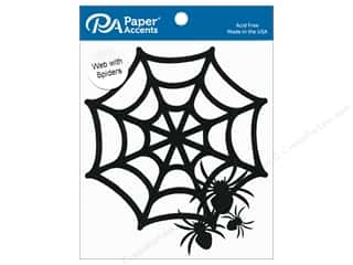 scrapbooking & paper crafts: Paper Accents Chipboard Shape Spider Web With Spiders 6 pc. Black