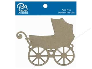 Paper Accents Chipboard Shape Baby Carriage 4 pc. Natural
