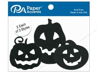 Clearance: Paper Accents Chipboard Shape Jack O' Lanterns 6 pc. Black