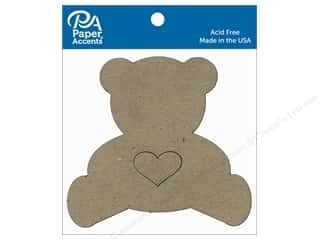 scrapbooking & paper crafts: Paper Accents Chipboard Shape Teddy Bear With Heart 6 pc. Natural