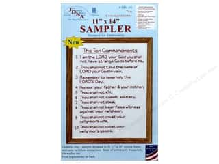 "yarn & needlework: Jack Dempsey Sampler 11""x 14"" 10 Commandments White"