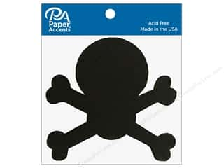 Clearance: Paper Accents Chipboard Shape Skull & Bones 8 pc. Black