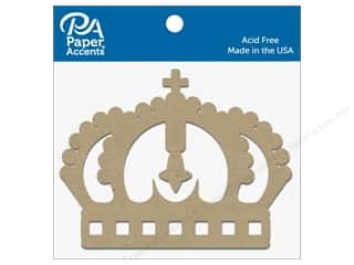 scrapbooking & paper crafts: Paper Accents Chipboard Shape Crown 8 pc. Natural