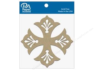 scrapbooking & paper crafts: Paper Accents Chipboard Shape Quatrefoil 8 pc. Natural