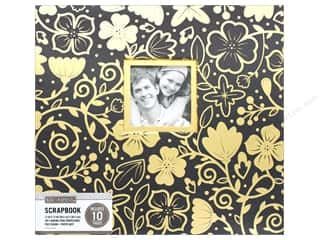 scrapbooking & paper crafts: K & Company 12 x 12 in. Scrapbook Window Album Black Gold Foil Floral