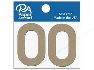 "Paper Accents Chipboard Shape Numbers ""0"" 2 in. 2 pc Natural"
