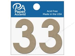 "die cuts: Paper Accents Chipboard Shape Numbers ""3"" 2 in. 2 pc. Natural"
