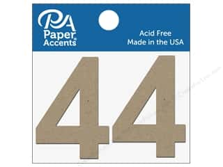 "Clearance: Paper Accents Chipboard Shape Numbers ""4"" 2 in. 2 pc. Natural"