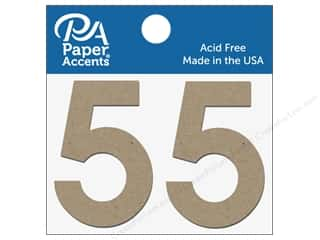 "die cuts: Paper Accents Chipboard Shape Numbers ""5"" 2 in. 2 pc. Natural"