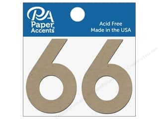 "Clearance: Paper Accents Chipboard Shape Numbers ""6"" 2 in. 2 pc Natural"