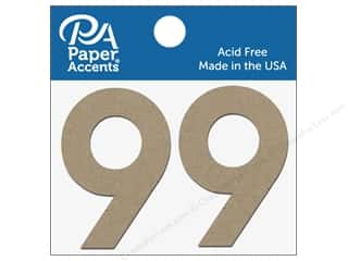 "Paper Accents Chipboard Shape Numbers ""9"" 2 in. 2 pc. Natural"