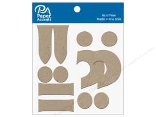 scrapbooking & paper crafts: Paper Accents Chipboard Punctuation !-.? 4 in. 2 pc. Natural