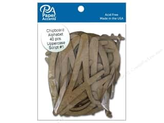 scrapbooking & paper crafts: Paper Accents Chipboard Shape Alphabet 4 in. Uppercase Script #1 40 pc. Natural