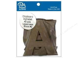 scrapbooking & paper crafts: Paper Accents Chipboard Shape Alphabet 4 in. Uppercase Block #2 40 pc. Natural