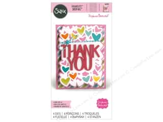 dies: Sizzix Dies Stephanie Barnard Framelits Card Drop-ins Thank You