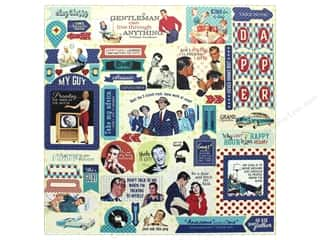 "scrapbooking & paper crafts: Authentique Collection Dapper Sticker 12""x 12"" Details (12 pieces)"