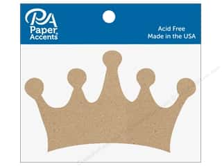 scrapbooking & paper crafts: Paper Accents Chipboard Shape 6 pc. Classic Crown Natural
