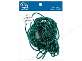 Cord Elastic: Paper Accents Stretch Loops 10 in. Metallic Green 10 pc.