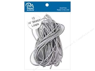 Cord Elastic: Paper Accents Stretch Loops 14 in. Metallic Silver 10 pc.