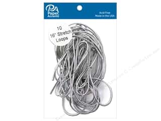 Cord Elastic: Paper Accents Stretch Loops 16 in. Metallic Silver 10 pc.