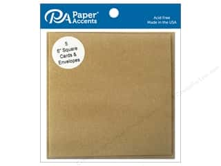 Paper Accents Blank Card & Envelopes - 6 x 6 in. - Brown Bag 5 pc.