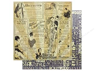 """silver cardstock: Graphic 45 Collection Vintage Hollywood Paper 12""""x 12"""" Silver Screen (25 pieces)"""