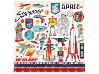 Clearance: Carta Bella Collection Space Academy Sticker 12 in. x 12 in. Elements (15 pieces)