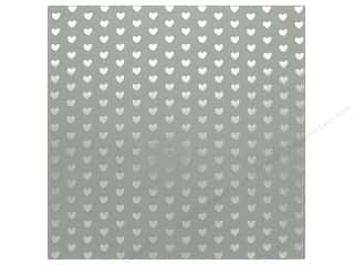 "scrapbooking & paper crafts: Bazzill Paper 12""x 12"" Heart Foil Rock Candy Gray (12 pieces)"