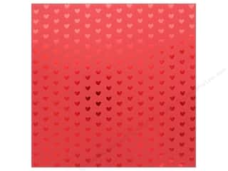 "scrapbooking & paper crafts: Bazzill Paper 12""x 12"" Heart Foil Red Hots (12 pieces)"