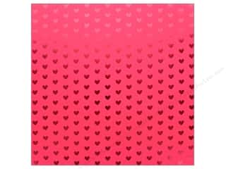 "Bazzill Paper 12""x 12"" Heart Foil Lollipop Red (12 pieces)"