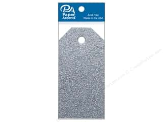 twine: Paper Accents Craft Tags 1 5/8 x 3 1/4 in. 10 pc. Glitter Silver