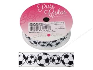 Morex Ribbon Sports Grosgrain Soccer Ball 7/8 in. x 5 yd Black/White