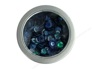 craft & hobbies: Buttons Galore 28 Lilac Lane Sequin Tin Denim Blues