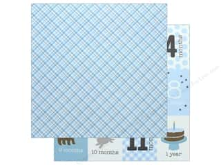 scrapbooking & paper crafts: Pebbles Collection Lullaby Paper 12 in. x 12 in. Baby Boy Plaid (25 pieces)