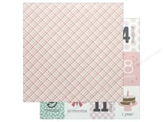 Pebbles Collection Lullaby Paper 12 in. x 12 in. Baby Girl Plaid (25 pieces)