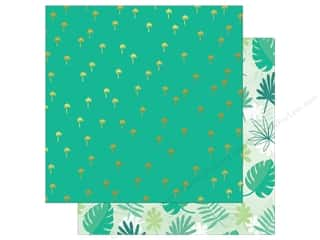 "Clearance: My Mind's Eye Collection Palm Beach Paper 12""x 12"" Gold Foil Palm Trees (25 pieces)"