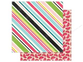 """Echo Park Collection Summer Fun Paper 12""""x 12"""" Sweet Stripe (25 pieces)"""
