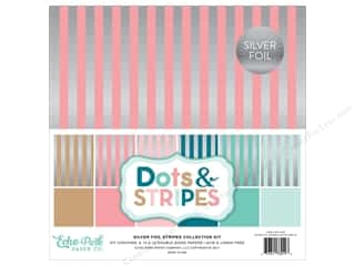 "scrapbooking & paper crafts: Echo Park Collection Dots & Stripes Silver Foil Stripe Paper 12""x 12"" Collection Kit"