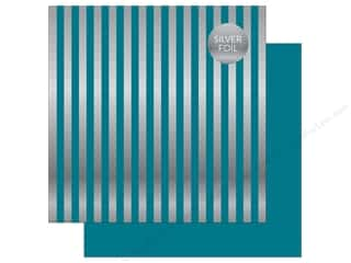 "Echo Park Collection Dots & Stripes Silver Foil Stripe Paper 12""x 12"" Blue"