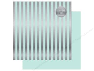 "Echo Park Collection Dots & Stripes Silver Foil Stripe Paper 12""x 12"" Light Mint"