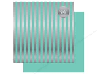 "Echo Park Collection Dots & Stripes Silver Foil Stripe Paper 12""x 12"" Mint"
