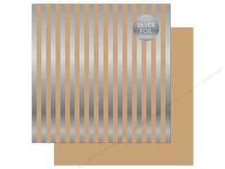 "Echo Park Collection Dots & Stripes Silver Foil Stripe Paper 12""x 12"" Tan"