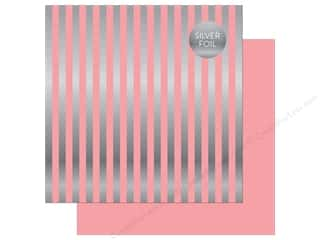 "Echo Park Collection Dots & Stripes Silver Foil Stripe Paper 12""x 12"" Pink"