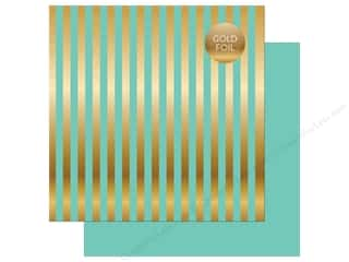 "Echo Park Collection Dots & Stripes Gold Foil Stripe Paper 12""x 12"" Mint"