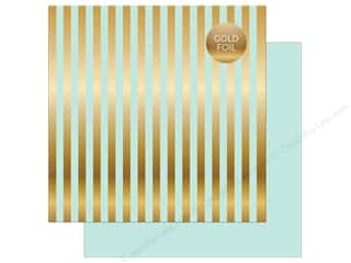 "Echo Park Collection Dots & Stripes Gold Foil Stripe Paper 12""x 12"" Light Mint"