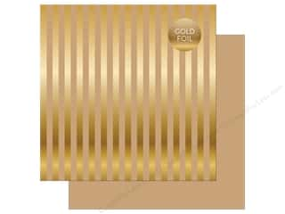"Echo Park Collection Dots & Stripes Gold Foil Stripe Paper 12""x 12"" Tan"