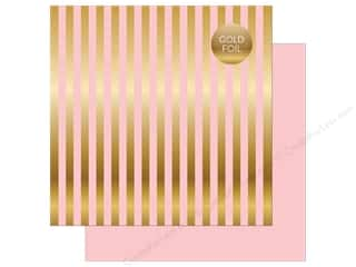 "Echo Park Collection Dots & Stripes Gold Foil Stripe Paper 12""x 12"" Light Pink"
