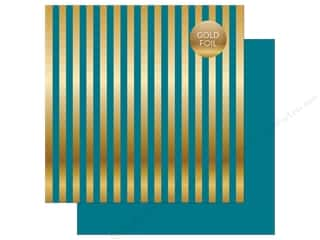 "Echo Park Collection Dots & Stripes Gold Foil Stripe Paper 12""x 12"" Blue"