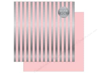 "Echo Park Collection Dots & Stripes Silver Foil Stripe Paper 12""x 12"" Light Pink"